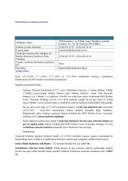 Satma Hakkı Kullanım Süreci, 16 Aralık 2014