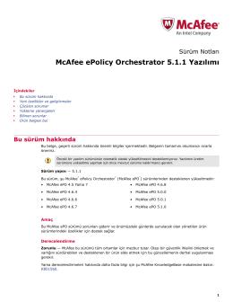McAfee ePolicy Orchestrator 5.1.1 Yazılımı Sürüm Notları