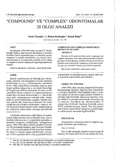 """compound"" ve ""complex"" odontomalar 28 olgu analizi"