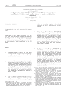 Commission Implementing Decision of 14 February 2014