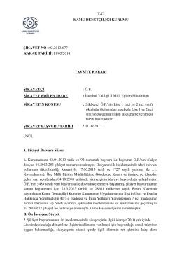 T.C. KAMU DENETÇİLİĞİ KURUMU ŞİKAYET NO :02.2013/677