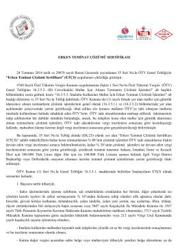 ERKEN TEMİNAT ÇÖZÜMÜ SERTİFİKASI 24 Temmuz 2014 tarih ve