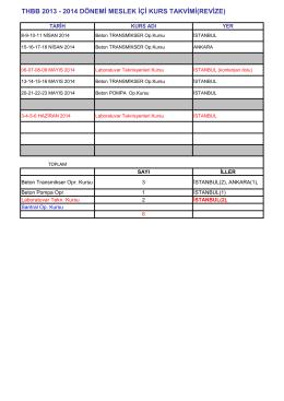 THBB 2013 - 2014 DÖNEMİ MESLEK İÇİ KURS TAKVİMİ(REVİZE)