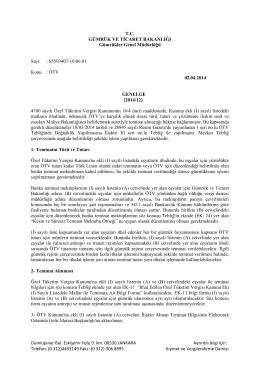 Genelge 2014/12 - T.C. Gümrük ve Ticaret Bakanlığı