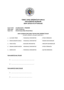 tobb il genç girişimciler kurulu icra komitesi seçimleri aday listesi ve