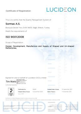Sormas A.S. ISO 9001:2008 Tim Watts