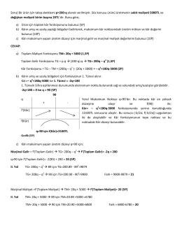 Soru) Bir ürün için talep denklemi p=200