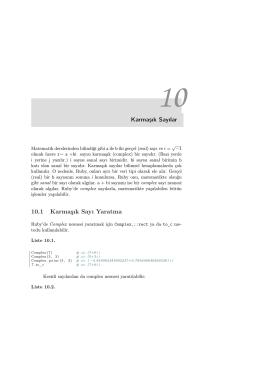 Karmaşık Sayılar 10.1 Karmaşık Sayı Yaratma