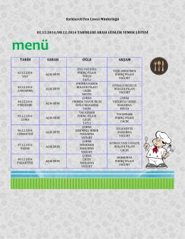 02-08 Aralık Haftası Yemek Listesi