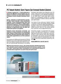 PC Tabanlı Kontrol: Gemi Yapımı İçin Evrensel Kontrol Çözümü