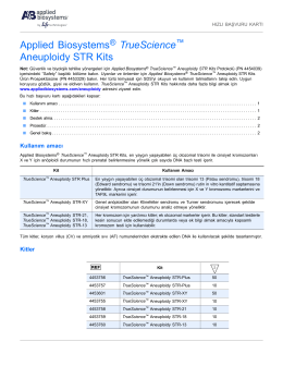 Applied Biosystems® TrueScience™ Aneuploidy STR Kits Quick