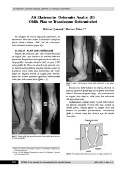 Alt Ekstremite Deformite Analizi (II)