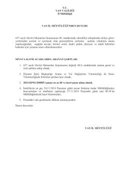 sınav ilanı (vekil din görevlisi)