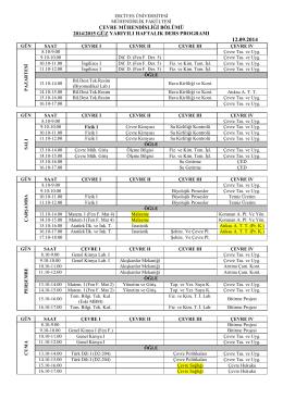 çevre mühendisliği bölümü 2014/2015 güz yarıyılı haftalık ders