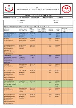 Eylül Ayı Eğitim Planı