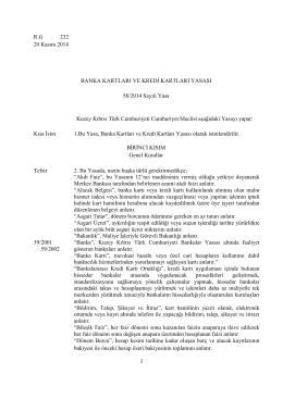 R.G 232 20 Kasım 2014 BANKA KARTLARI VE KREDİ KARTLARI