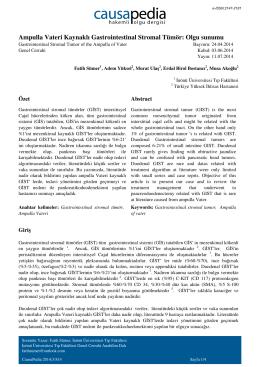 Ampulla Vateri Kaynaklı Gastrointestinal Stromal