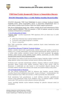 2014/2015 Döneminde Mısır ve Çeltik Makbuz Senedine