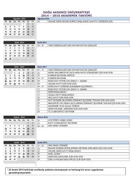 2014-2015 academıc calendar