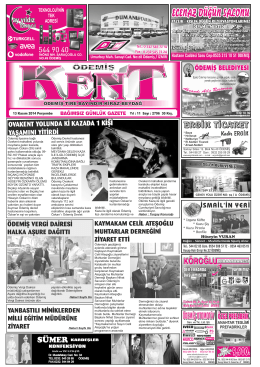 13-11-2014 Tarihli Kent Gazetesi