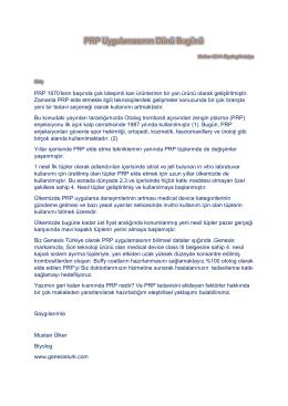 PRP uygulamasının dünü bugünü-Mustan Ülker-2014