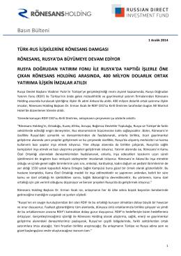 Basın Bülteni - Rönesans Holding
