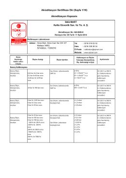 Akreditasyon Sertifikası Eki (Sayfa 1/18) Akreditasyon Kapsamı