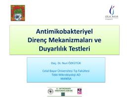 Antimikobakteriyel Direnç Mekanizmaları ve Duyarlılık Testleri, Nuri