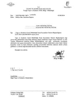 Tel : (0354) 214 03 76 - Tapu ve Kadastro Genel Müdürlüğü