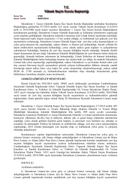 Yüksek Seçim Kurulunun 21/6/2014 tarihli, 2014/3006 sayılı