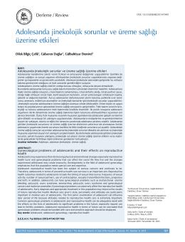 Adolesanda jinekolojik sorunlar ve üreme sağlığı üzerine etkileri
