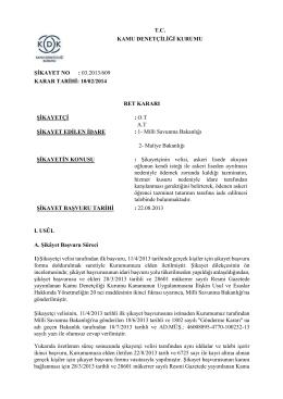 Dosya No: 03.2013-609 - Kamu Denetçiliği Kurumu