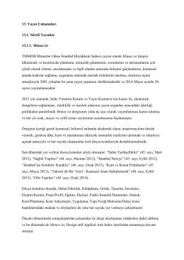 13. Yayın Çalışmaları - TMMOB Mimarlar Odası İstanbul Büyükkent