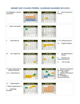 School Calendar - Mehmet Akif College Prizren