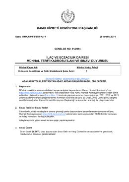 Genelge 91 2014 İlaç ve Eczacılık D.Genel Ecza ve Müs.Şb.A.
