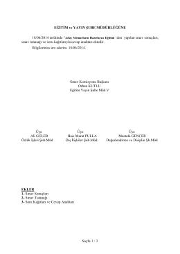 Sayfa 1 / 3 EĞĐTĐM ve YAYIN ŞUBE MÜDÜRLÜĞÜNE sınav