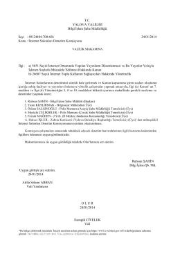T.C. YALOVA VALİLİĞİ Bilgi İşlem Şube Müdürlüğü Sayı : 49124484