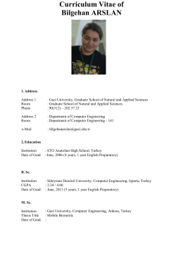 Curriculum Vitae of Bilgehan ARSLAN