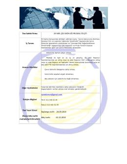 İlan Sahibi Firma AY-MEL ÇEV.MÜH.EĞ.PR.DAN.LTD.ŞTİ. İş Tanımı