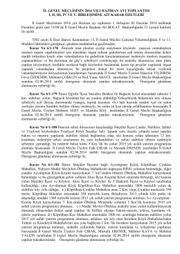 İL GENEL MECLİSİNİN 2014 YILI HAZİRAN AYI TOPLANTISI I, II, III