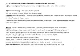 19. Jhr. Traditioneller Roman / Geleneksel Gerçekci Romanın