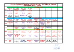 2014-2015 Eğitim Öğretim Yılı 1. Dönem Ortak Sınav Takvimi