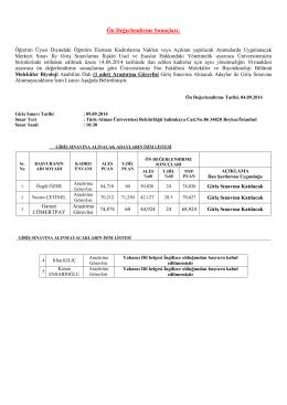 Ön Değerlendirme Sonuçları: - Türk