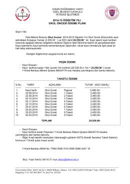 2014-15 öğretim yılı okul öncesi ödeme planı