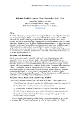 Bilişimde Yeni Kavramlara Türkçe Terim Önerileri
