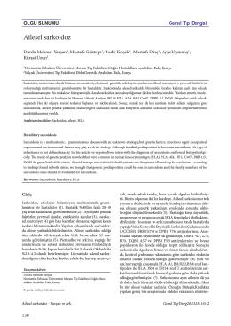 Ailesel sarkoidoz - Genel Tıp Dergisi