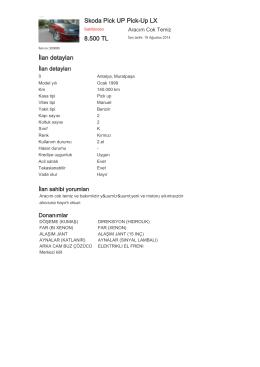 Skoda Pick UP Pick-Up LX 8.500 TL İlan detayları