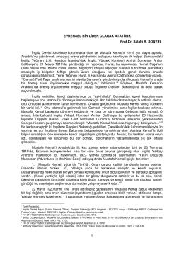 Evrensel Bir Lider Olarak Atatürk (Prof.Dr. Salahi R. SONYEL)