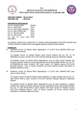 20/12/2013 Tıp Fakültesi Yönetim Kurulu Kararı