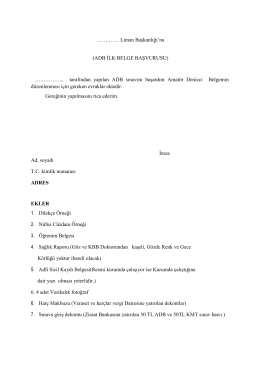 ADB İLK BELGE BAŞVURUSU - Tuzla Liman Başkanlığı